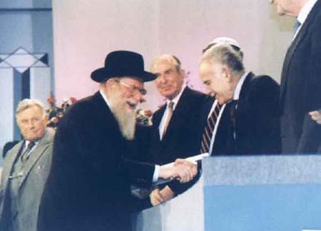 Rosh Hayeshiva ztl receives the Israel Prize, the nation's highest honor